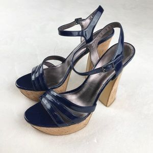 Boston Proper platform blue patent leather sandals